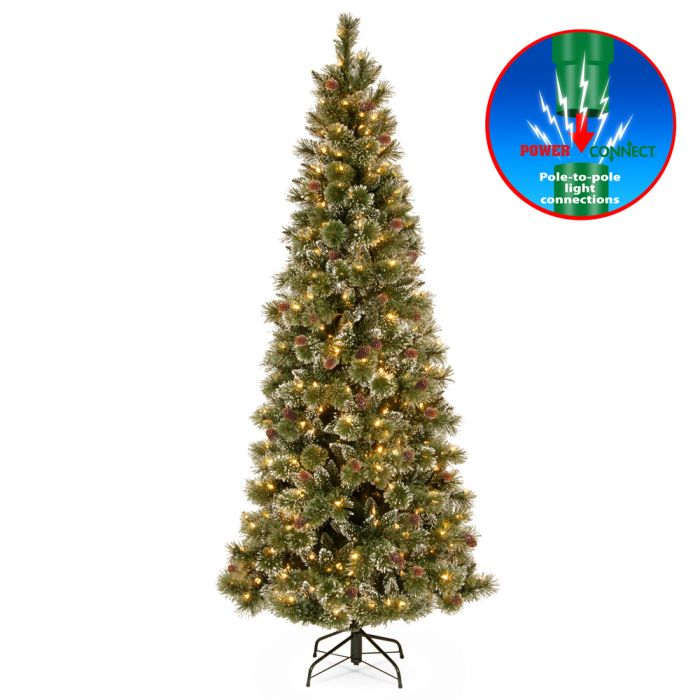 huge selection of d82f5 e34a4 Pre-lit Glittery Bristle Pine Slim Christmas Tree 6.5ft
