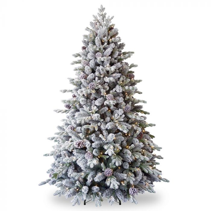 Pre Lit Feel Real Snowy Dorchester Pine Christmas Tree 6 5ft