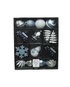 Shatterproof Mixed Boxed Bauble Set - Winter Blue 25 piece