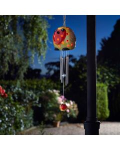 Smart Garden Ceramic Robin Solar Wind Chime