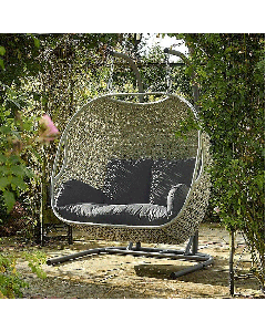 Clifton Double Hanging Cocoon including Season-Proof New Charcoal Cushions