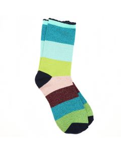 POM Blue and green mix striped bamboo and lurex socks