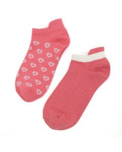 POM Pink mix trainer sock duo with hearts and lurex