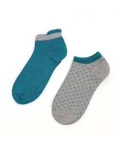 POM Teal & grey mix trainer sock duo with dots and lurex