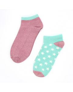 POM Pink & mint mix trainer sock duo with stars and lurex