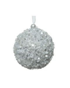 Foam Bauble with Hanger with Sequins Silver