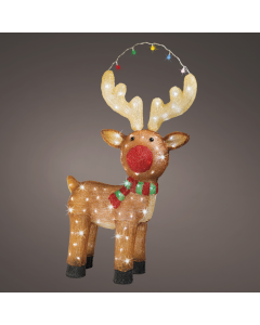 Outdoor Acrylic Reindeer with Red Nose