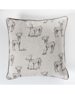 All Over Stag Cushion Natural 45x45cms