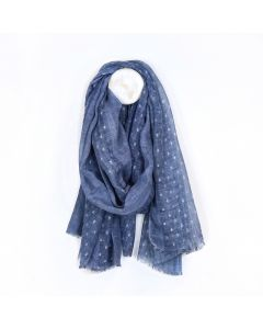 POM Washed blue scarf with metallic silver dash pattern