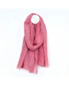 POM Washed pink scarf with metallic silver dash pattern