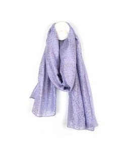 POM Lilac scarf with metallic rose gold spot print