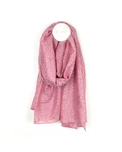 POM Dusky pink scarf with metallic rose gold spot print