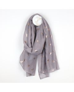POM Grey scarf with metallic rose gold bee print