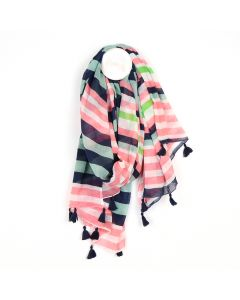 POM Cotton scarf with pink, blue and lime green stripes