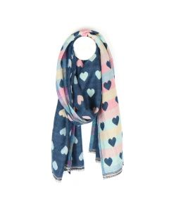 POM Reversible pastel and denim blue jacquard heart scarf