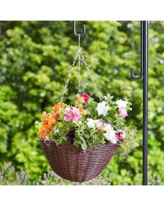 14'' Chestnut Faux Rattan Hanging Basket