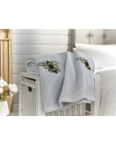 BLUE BEES PRINTED FLANNEL THROW