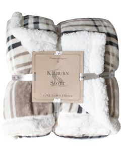 Check Sherpa Throw Taupe & Grey