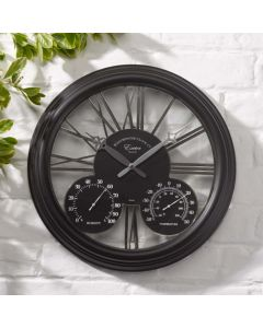 Exeter Wall Clock and Thermometer 15""