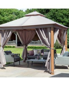 Luxury Gazebo 3x3m with LED - Taupe
