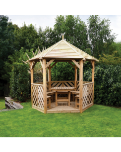 Woodshaw Willoughby Gazebo Open with Furniture