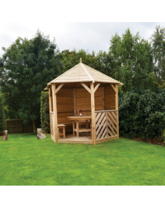 Woodshaw Willoughby Gazebo Closed Side with Furniture