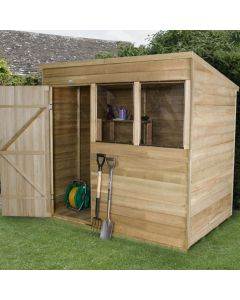 Pressure Treated Overlap Apex Shed - Small Double Door