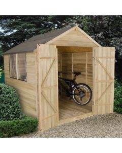 Pressure Treated Overlap Apex Shed - Large Double Door