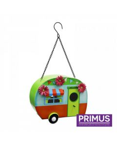 Funky Metal Caravan Bird House Green / Orange
