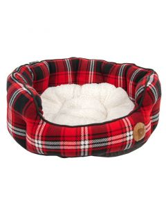Petface Red Tartan Oval Bed - Large
