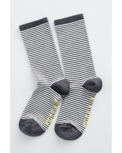 Sea Salt - Womens Sailor Socks Mini Stripe Coal