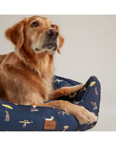 Joules Coastal Dog Print Square Bed - Small