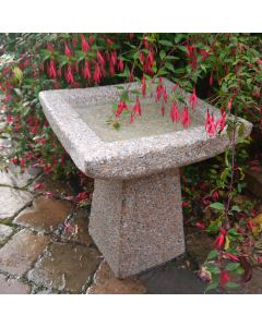 Square Basic Bird Bath - Pinky Grey