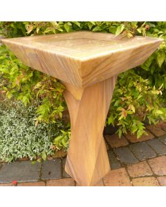 Sandstone Bird Bath - Twisted Column with Square Top