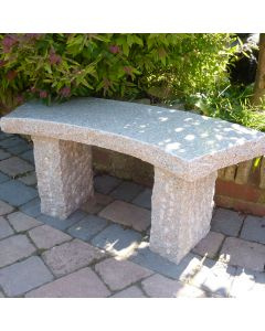 Rustic Curved Stone Bench - Pink