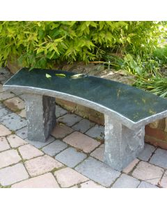 Rustic Curved Balmoral Stone Bench - Black