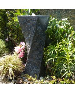 Black Limestone Twisted Fountain - with pump kit