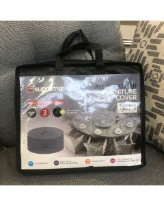 8 Seater Oval Set Furniture Cover (Breathable Fabric) - Grey