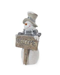 Standing Snowman with Welcome Sign