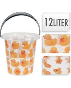 12 Litre Clear Animal Bucket - Duck Design