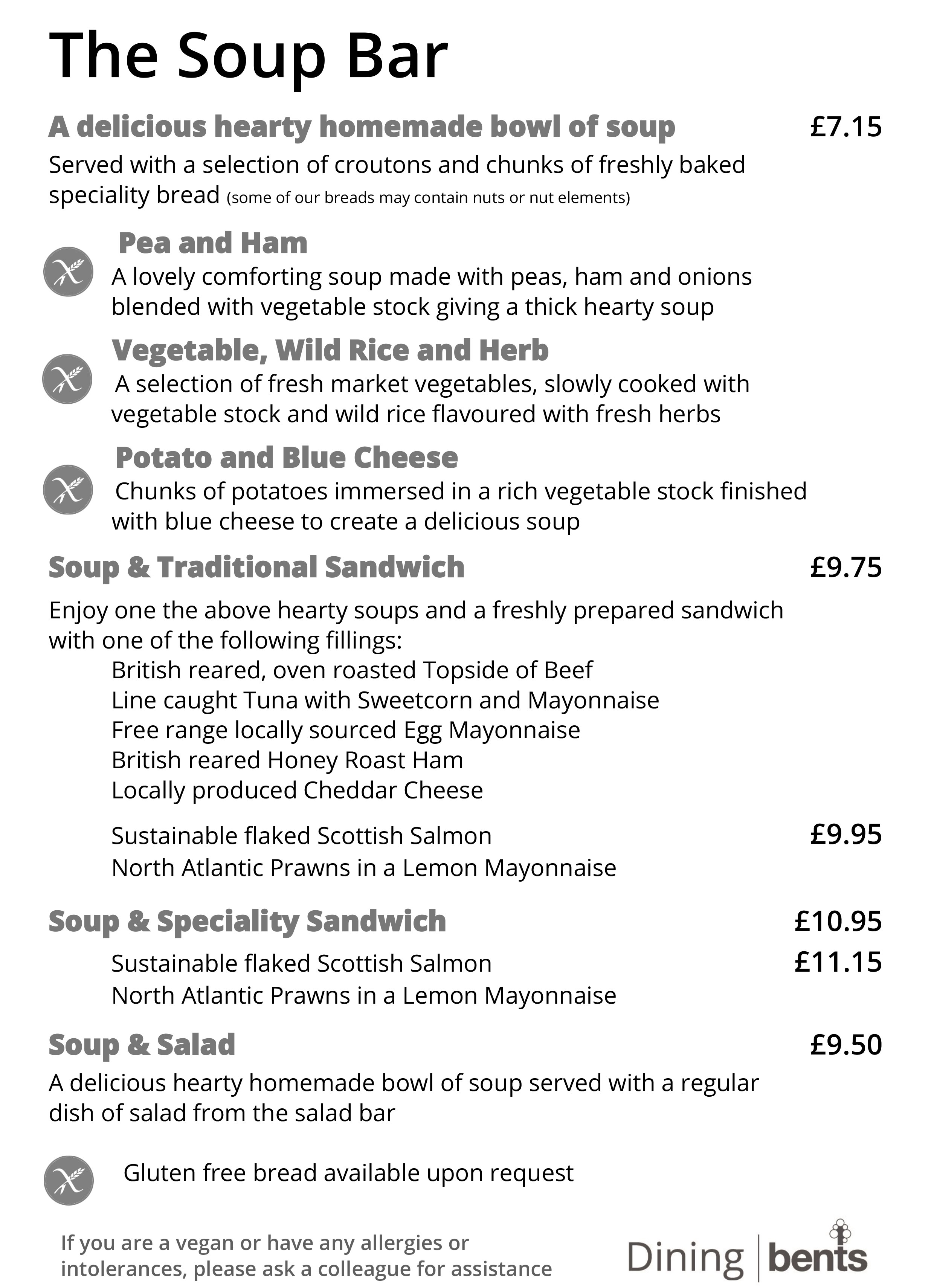 Soup Bar Sample Menu | Bents Garden & Home